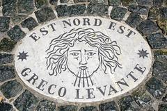 Est Nord Est Greco Levante wind rose wind direction marble slabs Piazza di San Stock Photos