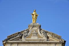 Figure of St Mary on the Basilica of Santa Maria degli Angeli Assisi Province - stock photo