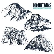 Stock Illustration of Hand Drawn Mountains Contours