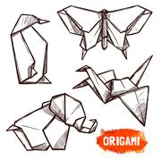 Stock Illustration of Hand Drawn Origami Figures Set