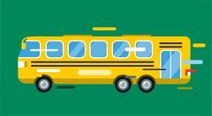 City bus cartoon style vector icon silhouette Stock Illustration