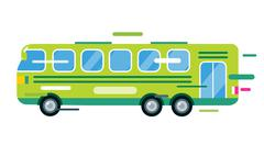 City bus cartoon style vector icon silhouette - stock illustration