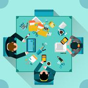 Office Teamwork Concept - stock illustration
