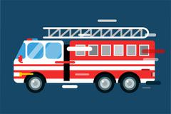 Fire truck car isolated vector cartoon silhouette Stock Illustration