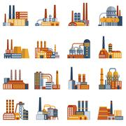 Stock Illustration of Factory Flat Icons Set