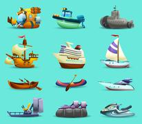 Ships And Boats Icons Set - stock illustration