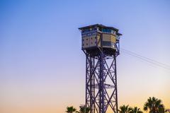 Stock Photo of Torre Sant Sebastia of Port Vell Aerial Tramway Teleferico del puerto