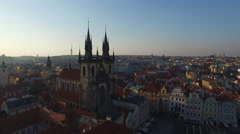 Great aerial view of the Church of Our Lady before Týn, Prague Stock Footage