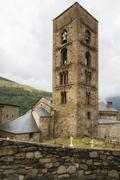 Romanesque church and cemetry, Lleida, Catalonia, Spain - stock photo