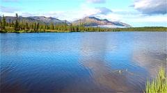 Serenity lake in Alaskan tundra - stock footage