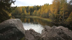 Forest lake in Northern Europe in autumn. Stock Footage