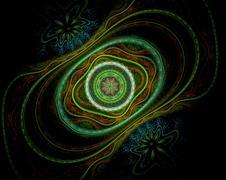 Jewelry circles fractal green, beige - stock illustration