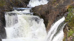 Waterfall Kivach in the protected forest of Northern Europe. - stock footage