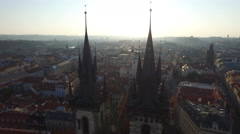 4K Aerial view of Church of Our Lady before Týn Prague Stock Footage