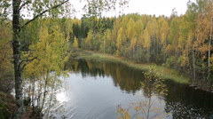Forest lake in Northern Europe in autumn. - stock footage