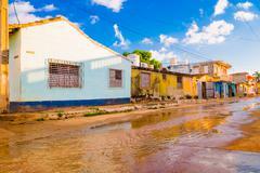 TRINIDAD, CUBA - SEPTEMBER 8, 2015:  Flooded streets in designated a World Stock Photos