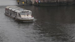 Turist boat in Berlin canal Stock Footage