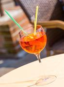Traditional Spritz aperitif in a bar in Venice Stock Photos