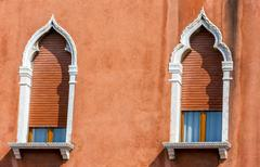 Beautiful venetian windows of a typical Venetian house, Italy Stock Photos
