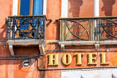 Ocher Facade of a luxury hotel Stock Photos