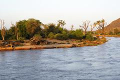 Stock Photo of Uaso Nyiro river in the evening light Samburu National Reserve Kenya Africa
