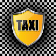 Stock Illustration of Metallic taxi shield shaped badge