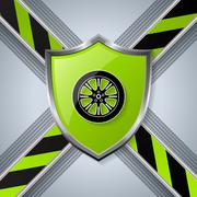 Tire and wheel background with shield Stock Illustration