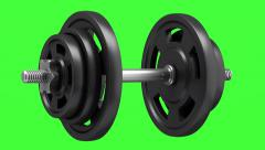 dumbbell loop rotate on green chromakey background - stock footage