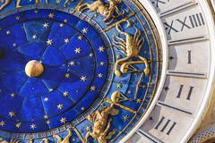 Closeup on Astronomical clock in square San Marco, Venice, Italy. Stock Photos