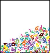 Background of falling cartoon numbers, digits. Funny, cheerful and colorful i - stock illustration