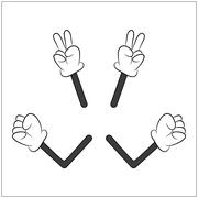Image of cartoon human gloves hand with arm gesture set. Vector illustration  Stock Illustration