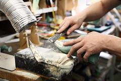 Stock Photo of Fashion and shoe design, shoemaking workshop