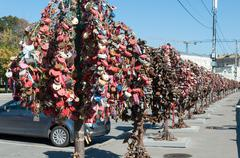 MOSCOW, RUSSIA - 21.09.2015. Trees with locks of lovers on the trees at Bolot - stock photo