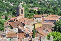 Stock Photo of Aerial view Grimaud Medieval village Var Provence Alpes Cote dAzur region