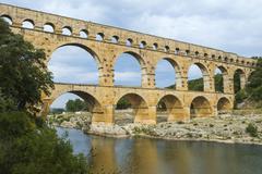 Pont du Gard Roman aqueduct Languedoc Roussillon region Unesco World Heritage Stock Photos