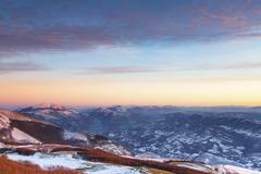 Stock Photo of Winter sunset on Mount Nerone Monte Nerone in the Apennines Marche Italy Europe