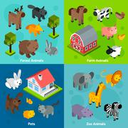 Isometric Animals Set - stock illustration