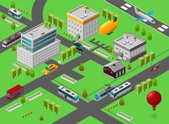 Isometric City Street Stock Illustration