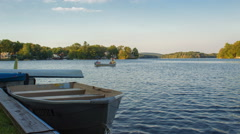 Fishing Boats on Rural Lake in New Jersey (4K) Stock Footage