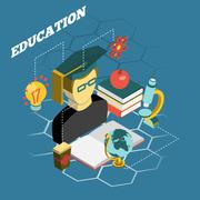 Education reading concept isometric banner Stock Illustration