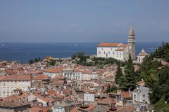Cathedral of St George Piran Istria Slovenian Littoral Slovenia Europe Stock Photos