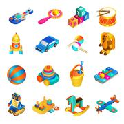 Toys Isometric Set - stock illustration