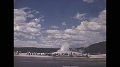 Vintage 16mm film, 1941, yellowstone old faithful, color Stock Footage