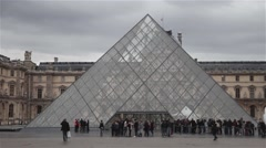 Louvre Museum glass piramid Stock Footage
