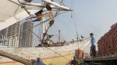 Sunda Kelapa sailing schooner gets loaded,Jakarta,Java,Indonesia Stock Footage
