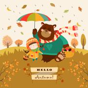 Girl and bear walking under an umbrella in the forest Stock Illustration