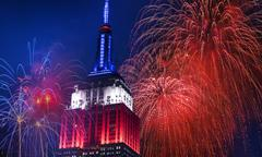 Independence Day celebration with fireworks - stock photo