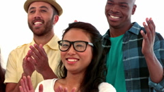 Casual business people clapping in a row Stock Footage