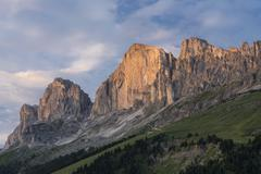 Rosengarten Group western side in the evening light view from Karerpass Croda Stock Photos