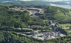 Basalt mining on Dietrichsberg Mitteldeutsche HartsteinIndustrie GmbH Vacha - stock photo
